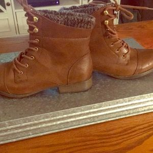 Brown Sweater Combat Boots